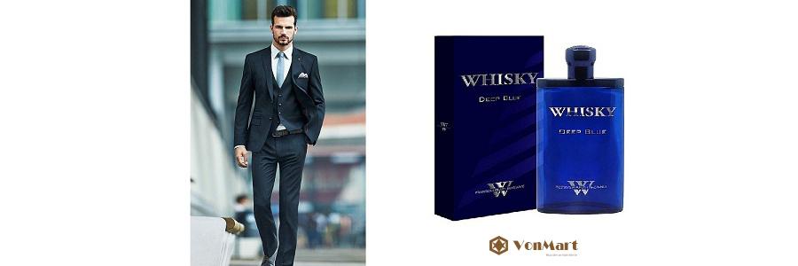 Nước hoa Whisky Deep Blue For Men Eau De Toilette 80ml, nam tính, sang trọng, đẳng cấp