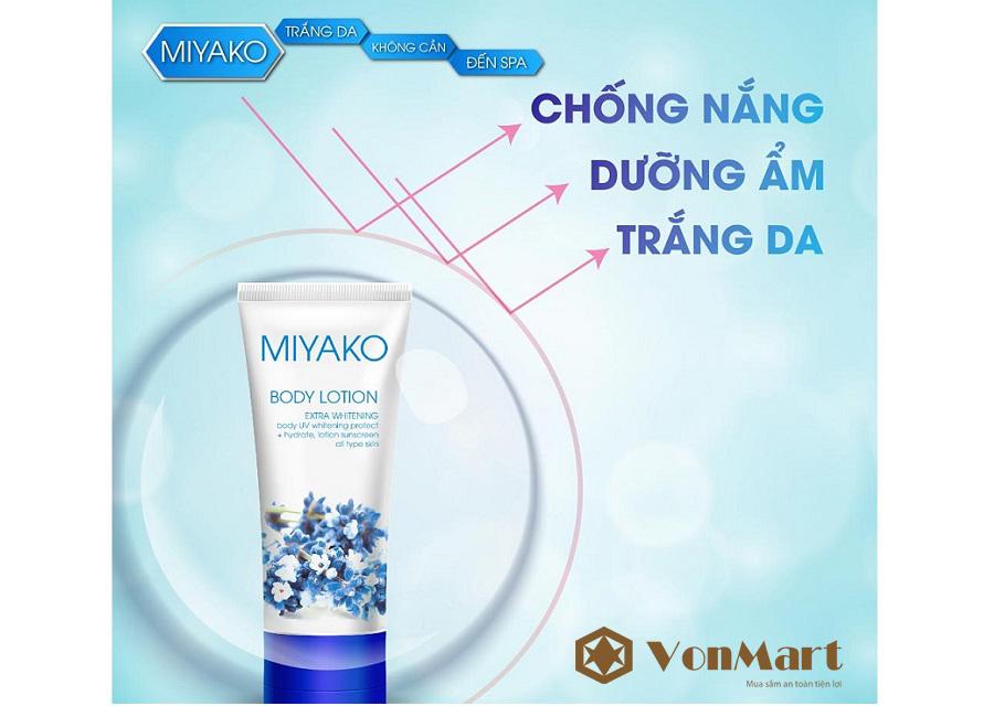 Kem dưỡng thể Miyako Body Lotion, che phủ chống nắng 36 lần, giữ ẩm, dưỡng da trắng mịn