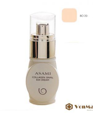 Kem nền Asami Collagen Snail B.B Cream BO20, tông da sáng, che phủ, se khít, làm trắng da