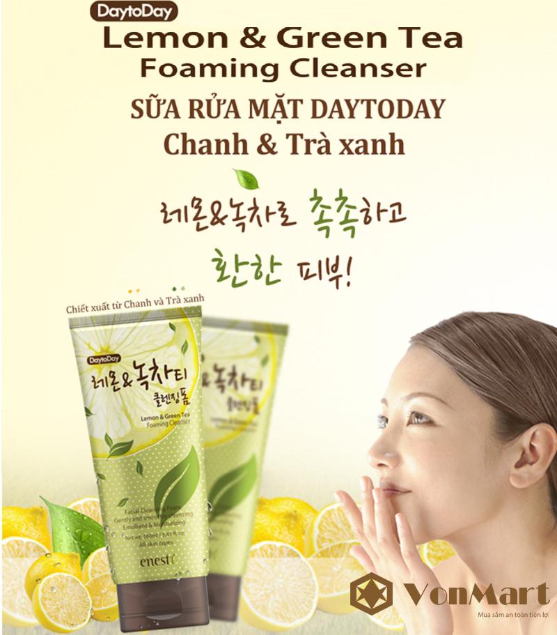 Sữa rửa mặt DayToDay Enesti, tinh chất chanh & trà xanh, sạch bụi bẩn, giảm nhờn, trị mụn