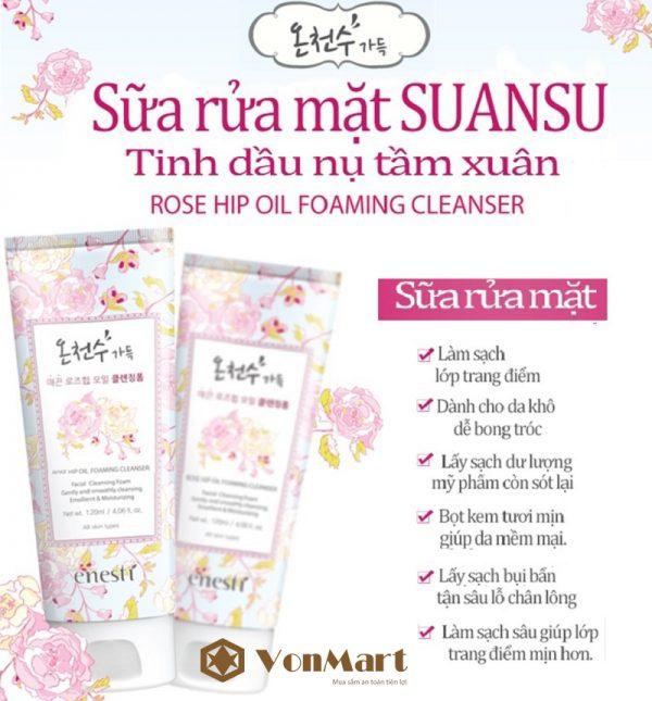 Sữa rửa mặt chiết xuất tầm xuân Suansu Enesti, sạch bụi bẩn, chống nhăn, da sáng khỏe