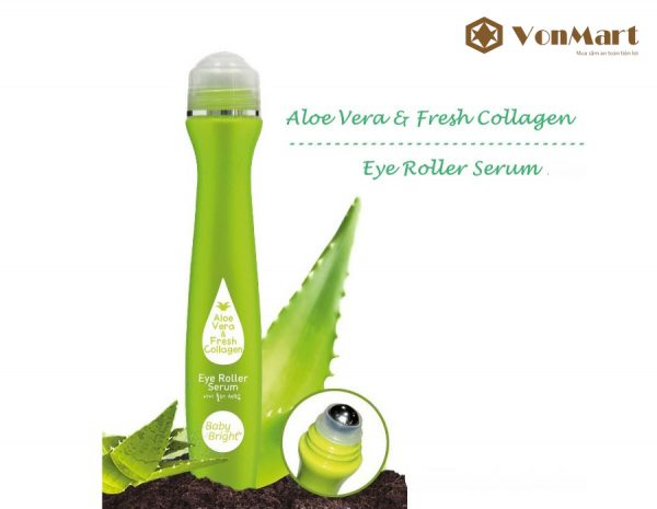 Bút lăn trị thâm quầng mắt Baby Bright Aloe Vera & Fresh Collagen, tan bọng mắt, nếp nhăn