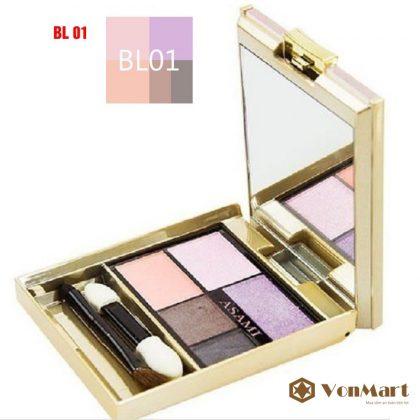 Asami Eye Shadow Pink 5 in 1 BL01, Phấn trang điểm mắt 5 trong 1, tông màu tím