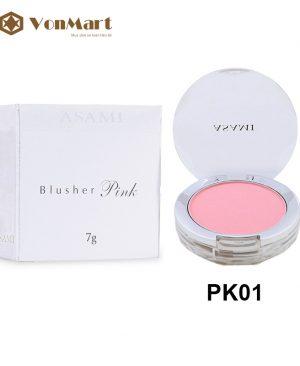 Phấn má hồng Asami Blusher PK01, tông màu hồng phấn, mềm mịn, lâu trôi, lên màu rạng rỡ