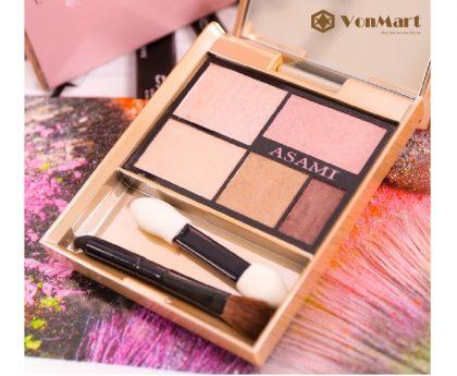 Phấn mắt Asami Eye Shadow Pink 5 In 1, 5 tông màu trong 1 sản phẩm, trang điểm đôi mắt