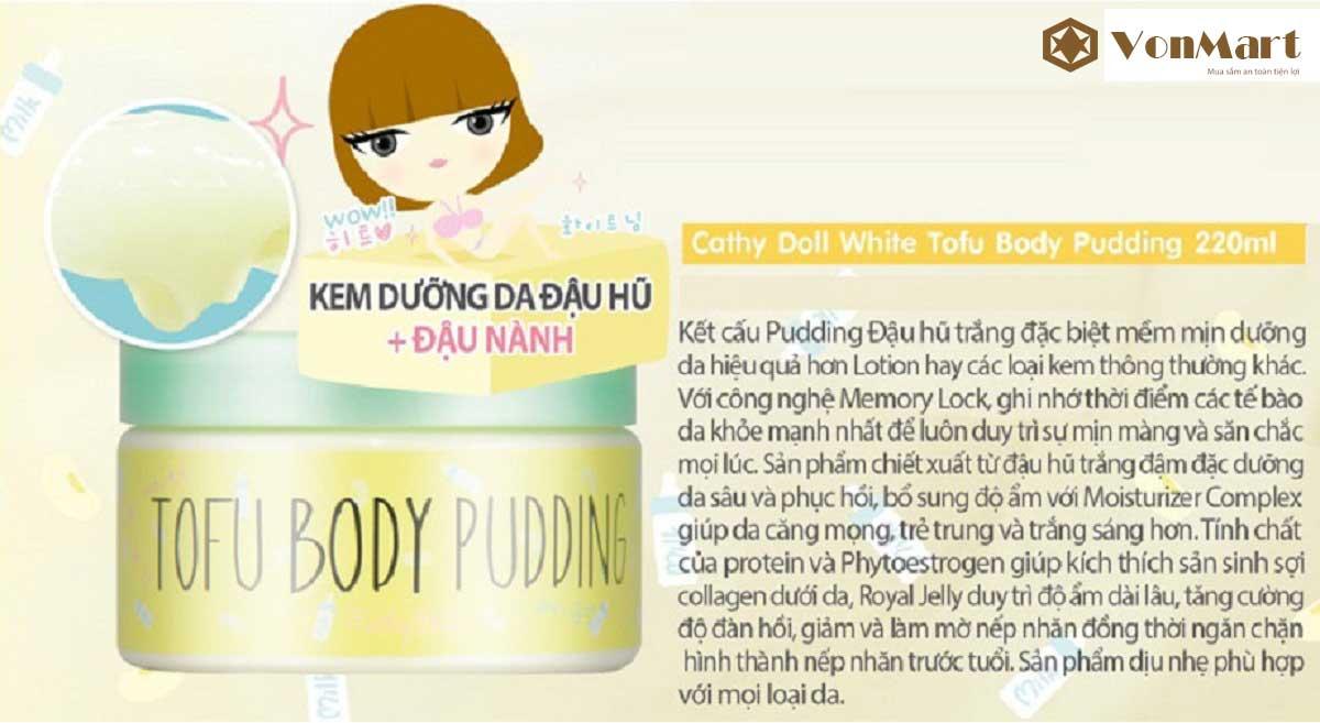 Kem Dưỡng Trắng Tofu Body Pudding, da sạch sâu, trắng mềm tự nhiên từ tinh chất đậu hũ