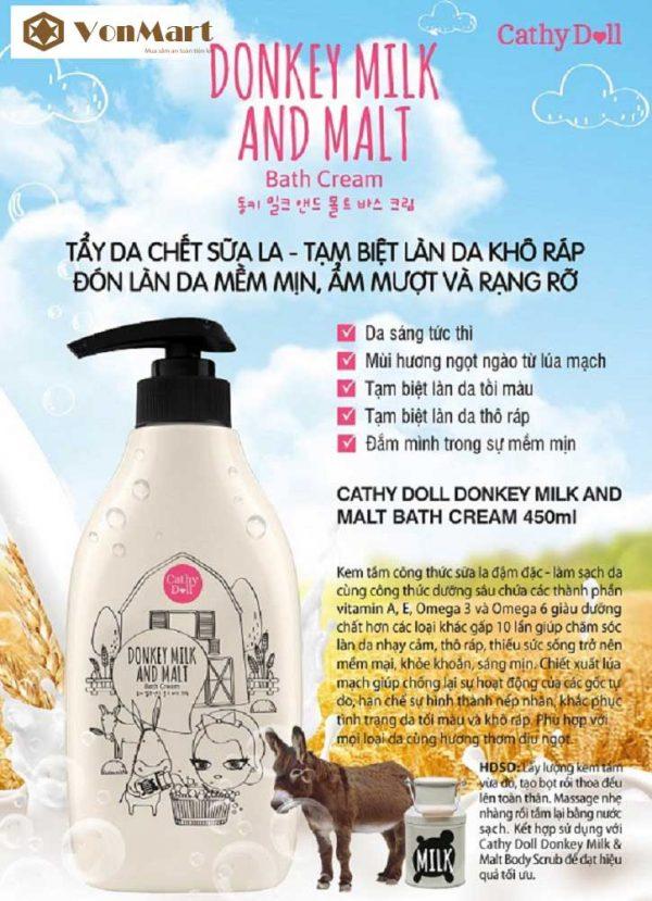 Sữa Tắm Lúa Mạch Donkey Milk & Malt, tẩy tế bào chết, làm sạch, giữ ẩm, dưỡng da trắng mịn
