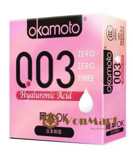 Bao cao su Okamoto 003 HA, siêu mỏng, nhiều gel bôi trơn dưỡng ẩm