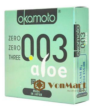 Bao cao su Okamoto Aloe, siêu mỏng ôm sát, lớp gel bôi trơn lô hội