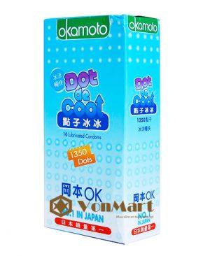 Bao cao su Okamoto Dot De Cool, gai kích thích, gel bạc hà mát lạnh