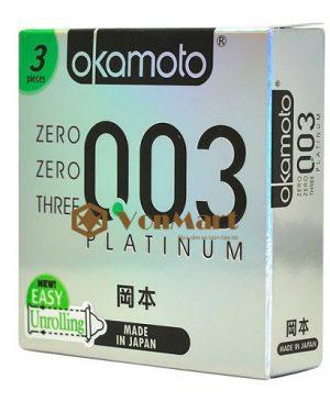 Bao cao su Okamoto Platinum, siêu mỏng 0.03 mm cao cấp, ôm sát co dãn
