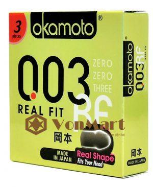 Bao cao su Okamoto Real Fit, siêu mỏng chỉ 0.03mm, gel bôi trơn lô hội