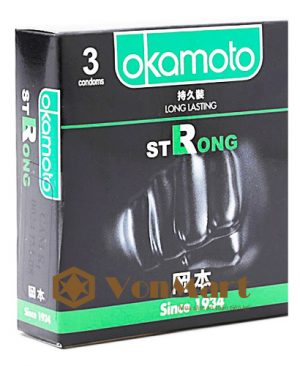 Bao cao su Okamoto Strong, tinh chất bạc hà mát lạnh kéo dài cuộc yêu