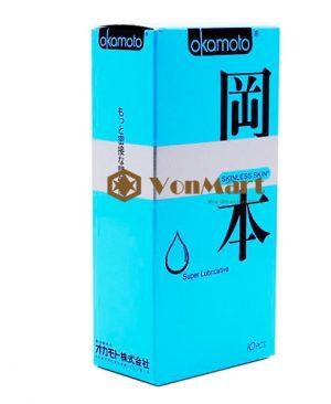 Bao cao su Okamoto Super Lubricated hộp 10, siêu mỏng trơn cho cảm giác thoải mái nhất