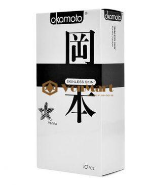 Bao cao su Okamoto Vanilla, mỏng kích thích, ôm sát co dãn, hương vani