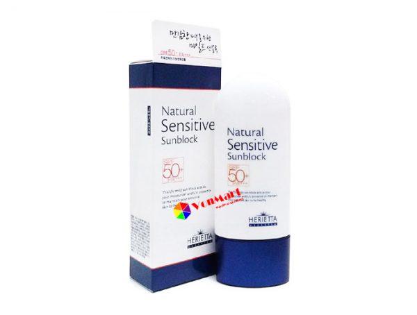 Kem chống nắng Natural Sensitive Sunblock, dưỡng ẩm dành cho da mặt tự nhiên