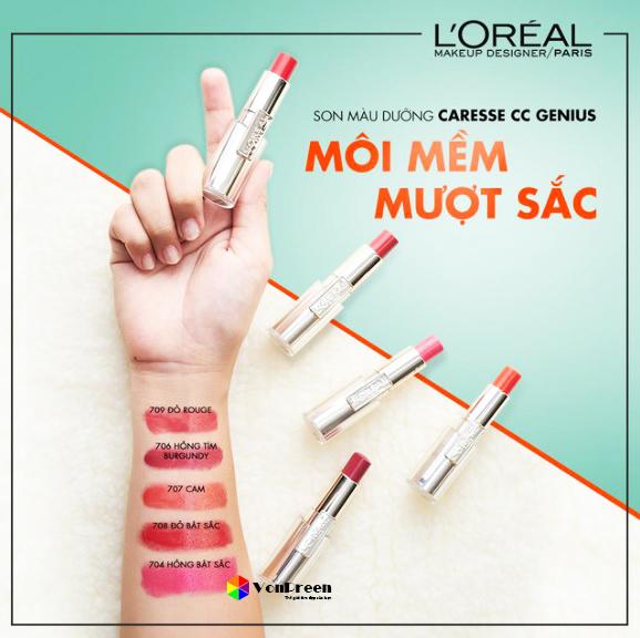 Son L'oreal Caresse Genius, dưỡng môi mềm mượt, màu sắc ngọt ngào