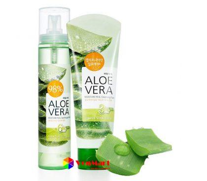 Xịt khoáng lô hội Aloevera Moisture Real Soothing Gel Mist, dưỡng ẩm