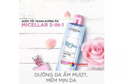 Nước tẩy trang L'Oreal màu hồng, loại bỏ lớp trang điểm và làm dịu da