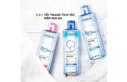 Nước tẩy trang L'oreal Micellar Water, làm sạch, giữ ẩm và dưỡng mềm da