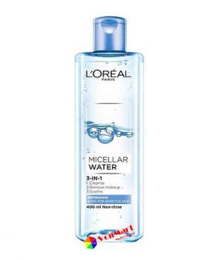Nước tẩy trang tươi mát L'oreal Paris Micellar Water, giúp da giữ nước, thông thoáng, mềm mượt